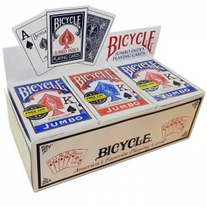 "Cartouche Bicycle ""RIDER BACK"" Jumbo – 12 Jeux de 56 cartes toilées plastifiées – format poker – 2 index jumbo"