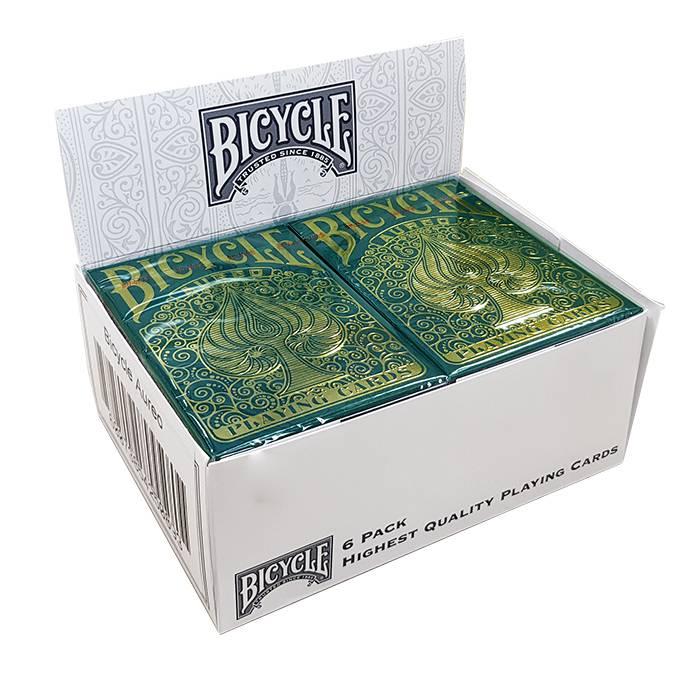 """Cartouche Bicycle """"AUREO"""" - 6 Jeux de 56 cartes toilées plastifiées – format poker – 2 index standard"""