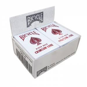 """Cartouche Bicycle """"CRIMSON LUXE"""" - 6 jeux de 54 cartes toilées plastifiées – format poker – 2 index standards"""