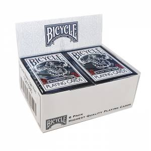 "Cartouche Bicycle ""BLACK TIGER"" - 6 Jeux de 56 cartes toilées plastifiées – format poker – 2 index standards"