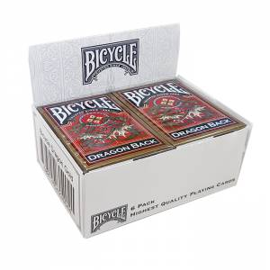 "Cartouche Bicycle ""DRAGON BACK"" - 6 jeux de 54 cartes cartonnées plastifiées – format poker – 2 index standards"