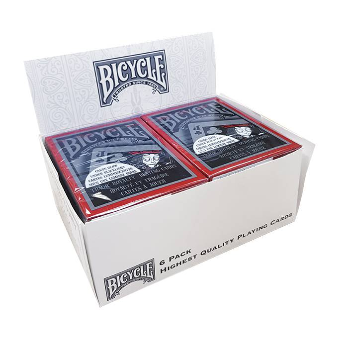 """Cartouche Bicycle """"TRAGIC ROYALTY"""" – 6 Jeux de 54 cartes toilées plastifiées – format poker – 2 index standards"""